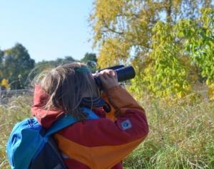 Kind mit Fernglas beobachtet die Natur