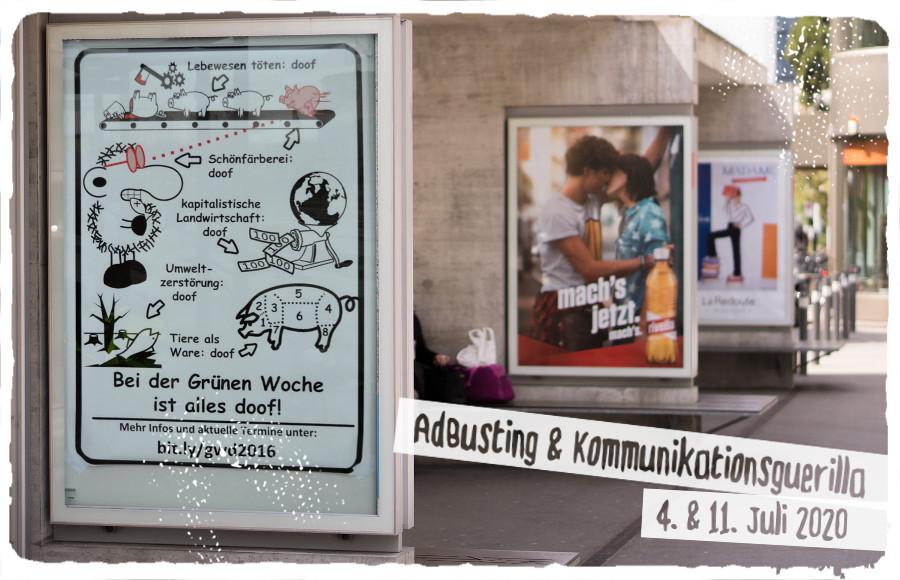 Flyer für den AdBusting-Workshop im Juli